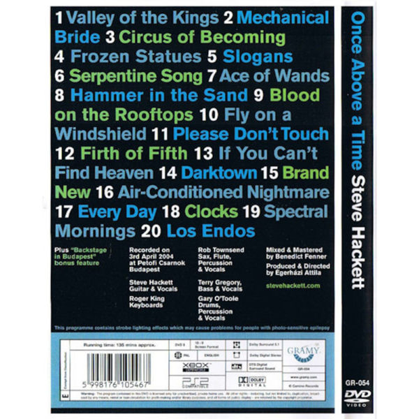 Steve Hackett – Once Above a Time (DVD) back cover