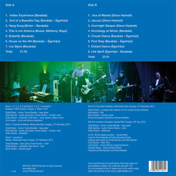 Djabe – Live in Blue (LP) back cover